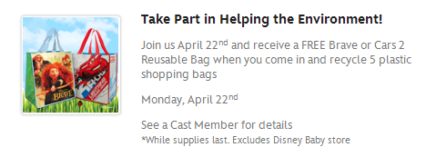Disney Store Free Earth Day Bags