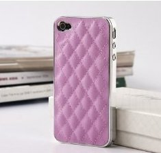 Quilted Pink Deluxe Plastic Chrome Genuine Leather Case
