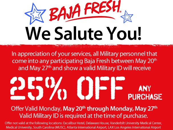 Baja Fresh Military Discount Military Wives Saving