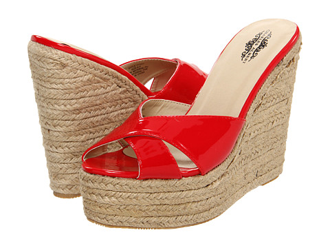 Charles Albert Red Wedge Heel Sandals