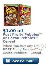 Post Pebbles Cereals Coupons and Deals