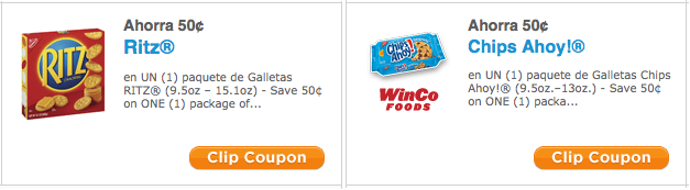 Ritz and Chips Ahoy Cookies Coupons