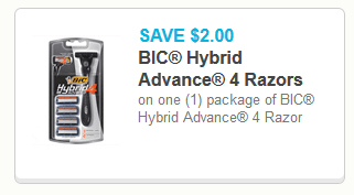 bic hybrid advance 4 razors coupons