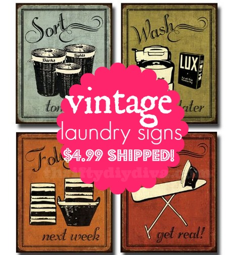 Vintage Laundry Signs | Art Print Poster 4-piece Set just $4.99