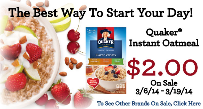 Quaker Instant Oatmeal Coupon Deals