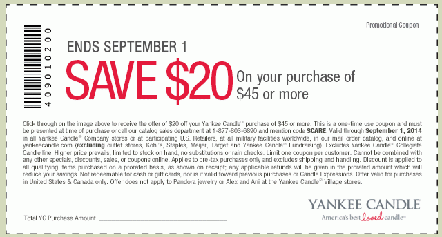 New Yankee Candle Printable Coupons